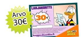 16 Aku Ankka lehteä + 30€ lahjakortti tilaajahja